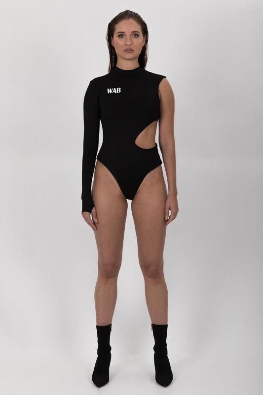 PRE ORDER ASYMMETRIC BLACK BODYSUIT EXTREME CUT OUT WITH THUMB HOLE