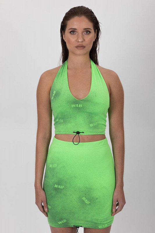 PRE ORDER GREEN NEON CROP TOP WAB WITH DRAWSTRING