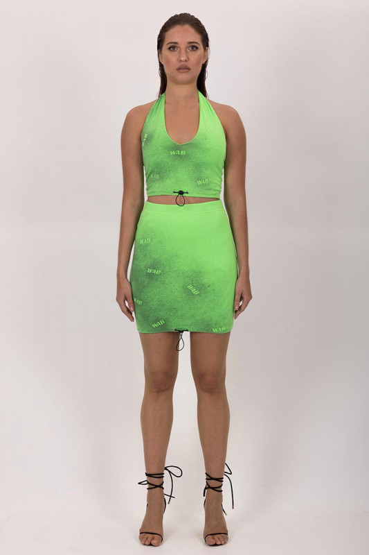 PRE ORDER MINI GREEN NEON SKIRT WITH DRAWSTRING