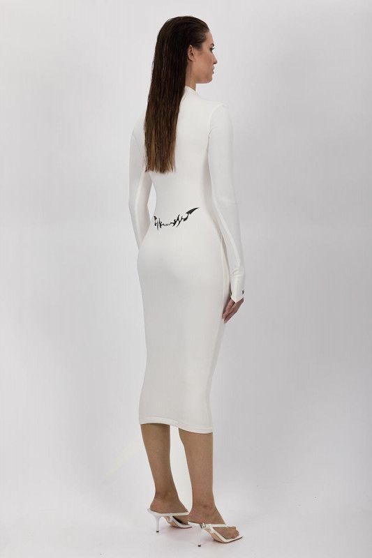 MAXI WHITE DRESS WITH THUMB HOLE NEON DETAILS