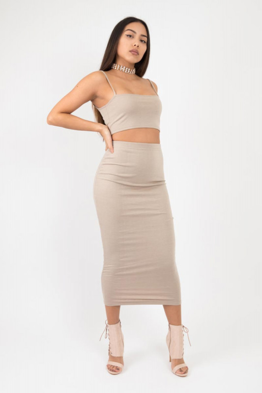 Basic maxi beige nude skirt