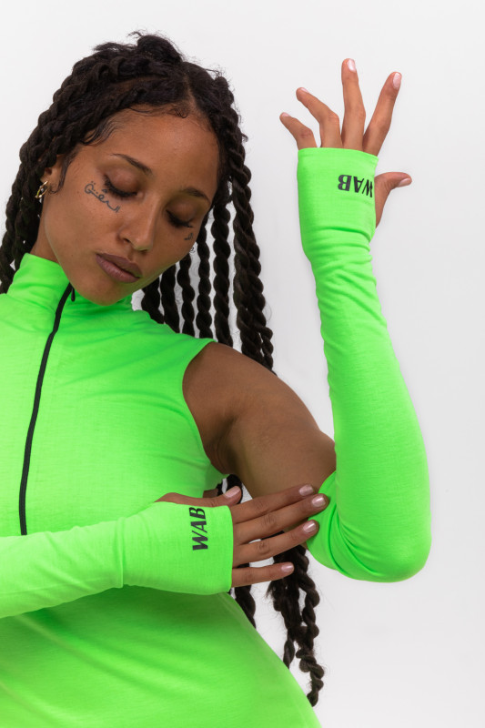 NEON GREEN LONG GLOVES WITH HOLE FOR INCHES WAB