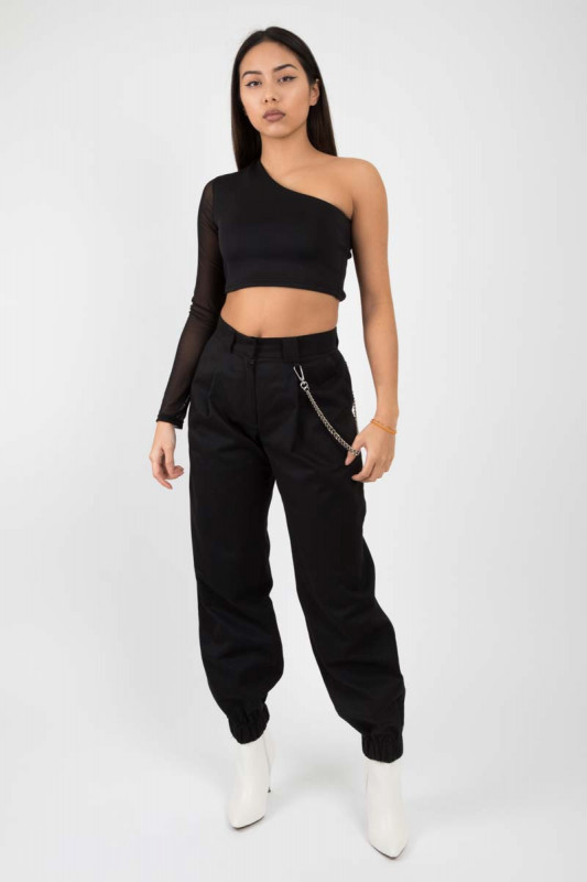 Black cargo pants with silver chain
