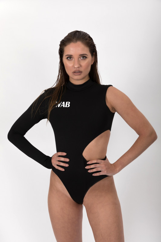ASYMMETRIC BLACK BODYSUIT EXTREME CUT OUT WITH THUMB HOLE