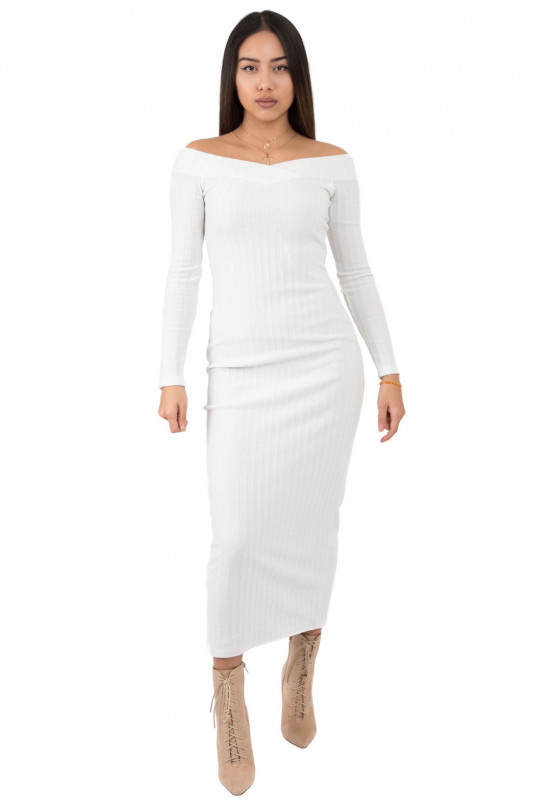 WHITE RIBBED MAXI DRESS OFF THE SOULDER
