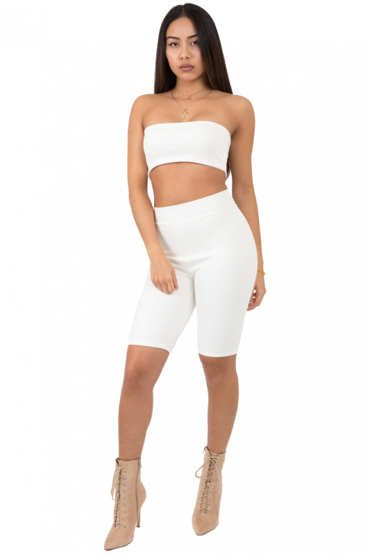 BASIC WHITE HIGH WAIST CYCLING LEGGING