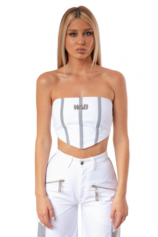 WHITE CROP TOP CORSET WITH REFLECTIVE DETAILS