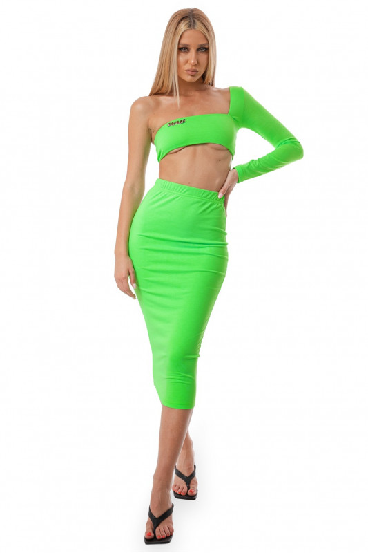 BASIC MAXI NEON GREEN SKIRT