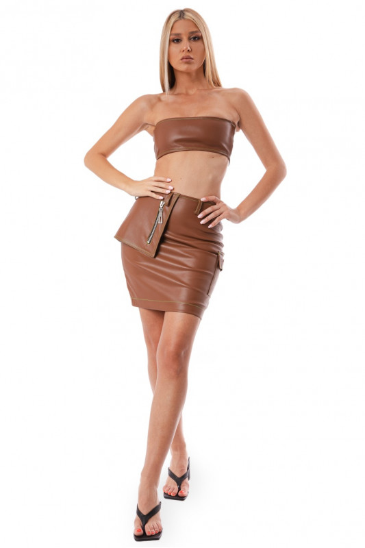 BROWN FAUX LEATHER UTILITARY SKIRT  NEON STITCH