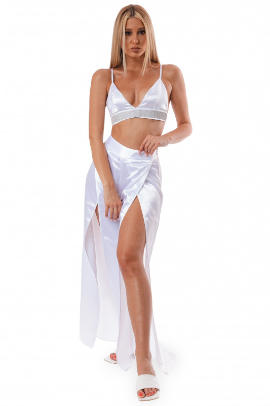 WHITE SATIN SPLIT PARTY PANTS