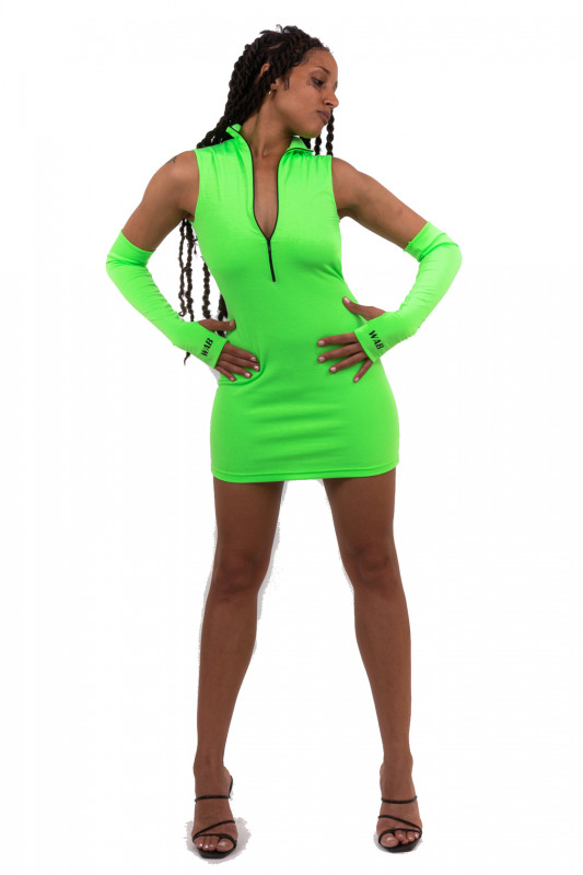 NEON GREEN BACKLESS MINI DRESS WITH TRIBAL DESIGN