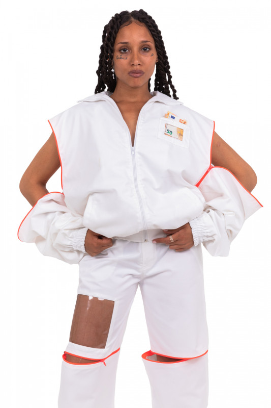 WHITE OVERSIVE TRACKSUIT JACKET WITH NEON ZIPPER